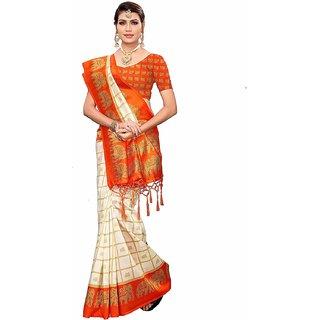 Mastani Women's Orange Silk With Blouse Saree