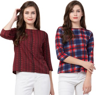 Jollify Women's Regular Fit Maroon & Blue Red Checkbox Top