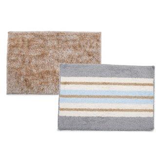 Grappin Soft Microfiber Polyester Medium Size Anti Anti Skid Latex Multicolor Bathroom Rug (40 X 60Cm)