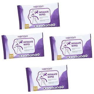 Pack of 4 Woomaya Natural Intimate Hygiene Wipes - Wetwipes