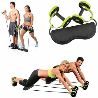 Liboni Resistance Rubber Bands With Power Stretch Roller Wheel With Body Pro Roller Ab Exerciser Green