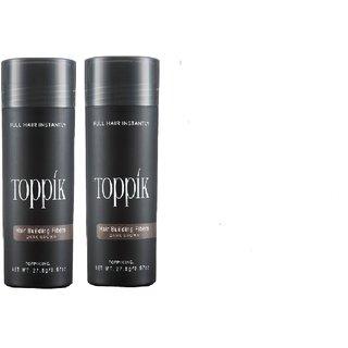 Top-Pik Hair Building Fibers New Bottles Dark Brown Color 27.5 Grams,Hair Loss Concealer , Pack Of 2 ! At Best Price