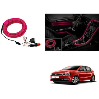 Autoladders Car Interior Ambient Wire Decorative Led Light Pink For Volkswagen Polo