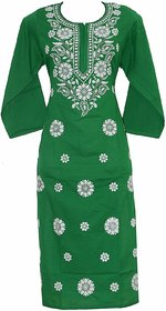 Colonial Lucknowi Chikan Regular Wear Cotton Kurta Kurti light green color with white kadhai