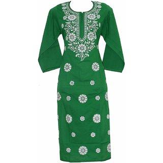 Colonial Lucknowi Chikan Regular Wear Cotton Kurta Kurti light green color with white kadhai
