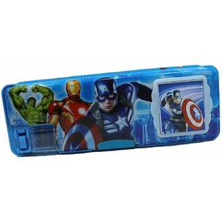 Asu Pencil Boxes For Boys For Schools, Avenger Characters Printed Magnetic Dual Side Pencil Box With Calculator For Kids