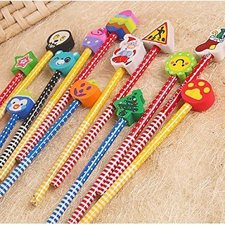 Regal Cartoon Character Pencils With Cool Eraser Top (Colours May Vary) - Pack Of 6