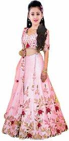 Femisha Creation Baby Pink Heavy Flower Work Satin Lehenga Choli For Girls Semi Stitched