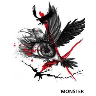 Monster Temporary Tattoo Waterproof For Girls, Men, Women Beautiful Popular Crow With Eye Tattoo
