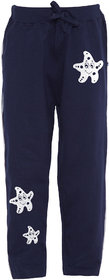 Cliths Navy Blue Cotton White Star Fish Printed Track Pants For Girls Kids