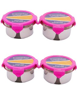 Combo 2 Pink Stylish Leak Proof Steel Container