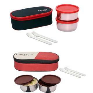 Combo 2 In 1 Black-Red + 2In 1 Red Brown Container Lunchbox