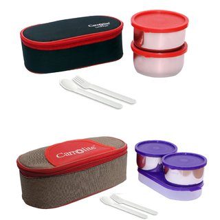 Combo 2 In 1 Black-Red + Solace Red-Brown Purple Container Lunchbox