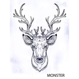 Monster Temporary Body Tattoo Waterproof For Girls Men Women Beautiful Popular Deer Tattoo