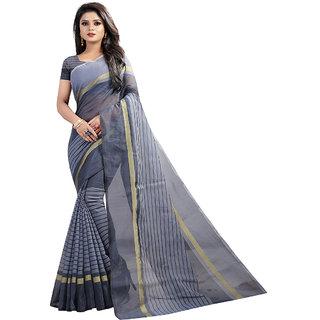 XAYA Women's Chanderi Cotton Saree with Blouse Piece (Ocean BluePRS089-3)