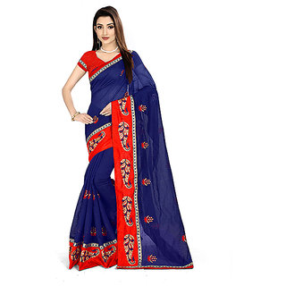 XAYA Women's Chanderi Cotton Saree with Blouse Piece (Royal Blue and Scarlet RedPRS093-6)