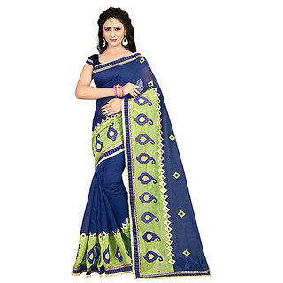 XAYA Women's Chanderi Cotton Saree with Blouse Piece (Navy BluePRS095-4)