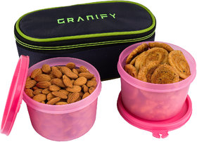GRANIFY LUNCH BOX ( 2 CONTAINERS WITH BAG COVER ) PINK COLOR USE FOR MULTIPURPOSE