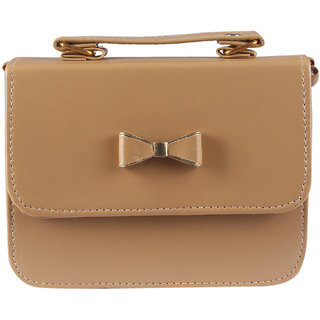 Beige Leatherette Material Sling Bags For Women