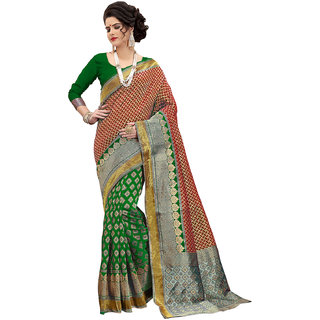 XAYA Clothings Women's Banarasi Silk Green and Red Colored Saree with Blouse Piece (PRS068-1)