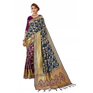 XAYA Clothings Women's Banarasi Silk Purple and Blue Colored Saree with Blouse Piece (PRS071-5)