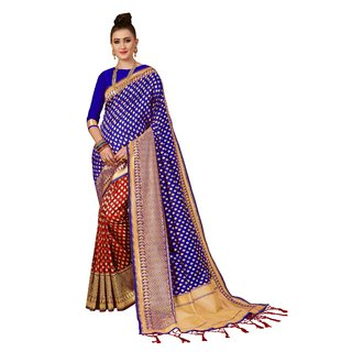 XAYA Clothings Women's Banarasi Silk Red and Blue Colored Saree with Blouse Piece (PRS072-1)