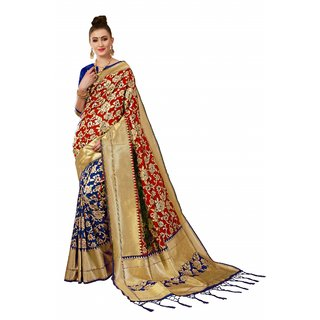 XAYA Clothings Women's Banarasi Silk Blue and Red Colored Saree with Blouse Piece (PRS073-1)