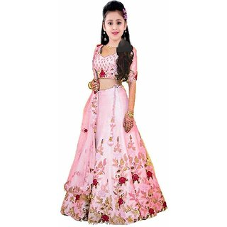 Femisha Creation Baby Pink Color Multi Flower Work Kids Girls Wedding Wear Semi Stitched Lehenga Choli .