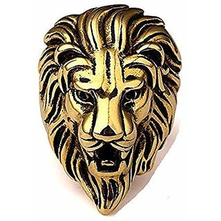 Men Fashion Accessories Steel Roaring Lion Head Unique Design Ring for Men and Boys ( 1 Pcs Golden)