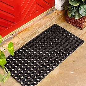 CASA-NEST Rubber Zoom Door Mat (Black, 18x30)