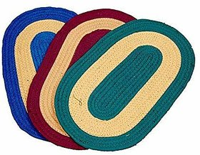 CASA-NEST 3 Piece Cotton Door Mat Set - 24 x 14, Multicolour