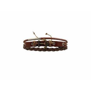 Multi Strand Anchor Inspired Braided Faux Leather Classy Finish Trendy Bracelet UBFJBR229