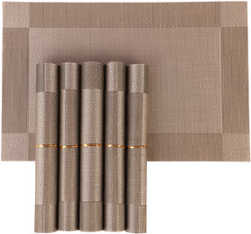 NFI essentials PVC Dining Table Kitchen Placemats (45X30cm) - Set of 6 Mat (Golden)