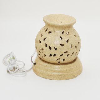CARGO'S Ceramic Electric Aroma Oil Diffuser Set Big Matki Shape/Oil Burner/Fragrance Lemon Grass