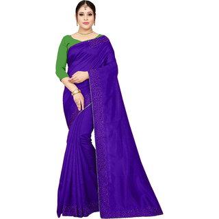 Aurima Womens Joya Silk Party and Wedding wear Saree With Small white diamond stone