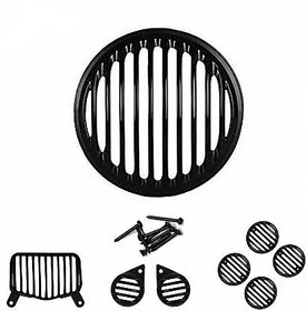 Ramanta Plastic Headlight Grill for Roy Enf Bullet Standard 350 and Roy Enf Standard 500 (Black, Set of 8 PCs)
