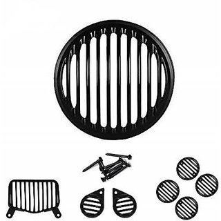 Ramanta Plastic Headlight Grill for Roy Enf Bullet Standard 350 and Roy Enf Standard 500 (Black, Set of 8 PCs)