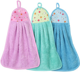 NFI essentials Hanging Hand Cotton Velvet Napkin for Wash and Kitchen Basin (42 x 30 cm Assorted Colour) - Set of 3