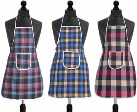 CASANEST Waterproof Cotton Kitchen Multi Colour Apron with Front Pocket - Set of 3
