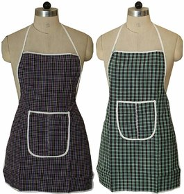 CASA-NEST Cotton 2 Piece Kitchen Apron with Front Pocket Set - Multicolour
