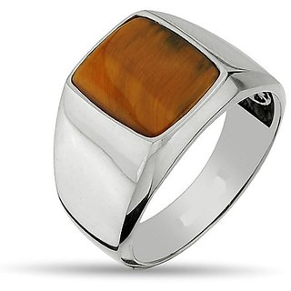CEYLONMINE- tiger's eye 7.5 ratti stone gemstone pure silver adjustable ring (anguthi) Good quality stone ring for unisex