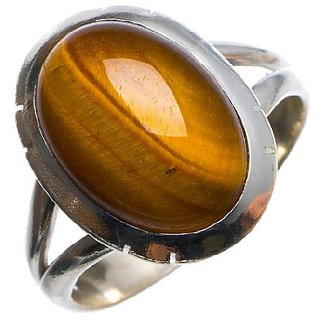 7.5 ratti stone tiger's eye silver adjustable ring origiinal & natural stone tiger's eye stylish ring for astrological purpose By CEYLONMINE