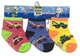Platinum New Born Baby Cotton Multicolored Anti slip Socks 0-12 months kids(Pack of 3 Pairs)