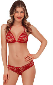 Red Lace Triangle Bikini Lingerie