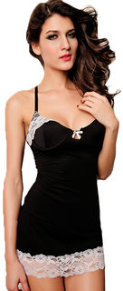 Lace-trim Slip Babe Black