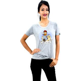 HEYUZE Cotton Girl Women's Half Sleeve Round Neck Born To Be Free Quote Printed T-Shirt
