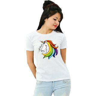HEYUZE Cotton Girl Women's Half Sleeve Round Neck Fabulous Quote Printed T-Shirt