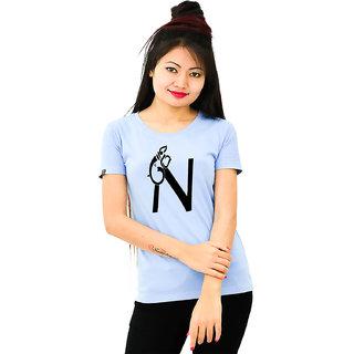 HEYUZE Cotton Girl Women's Half Sleeve Round Neck Alphabet N Ganesha Printed T-Shirt