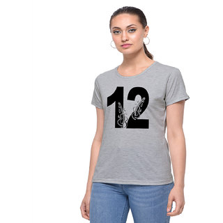 The Heyuze Haat Shop Your Expression Cotton Girl Women's Half Sleeve Round Neck Lucky Number 12 Guitar Music Lover Printed T-Shirt