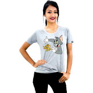 HEYUZE Cotton Girl Women's Half Sleeve Round Neck Cartoon Printed T-Shirt